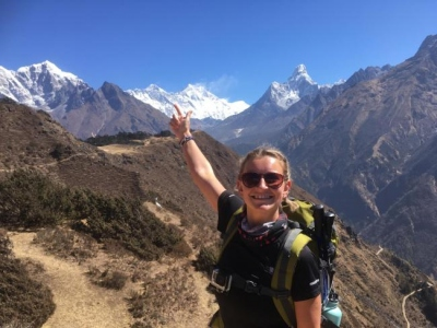 Rachel Waller Everest climb 2 First view of Everest at Khumjung .jpg.gallery